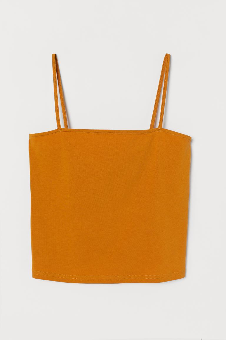 Cropped jersey strappy top - Mustard yellow - Ladies | H&M