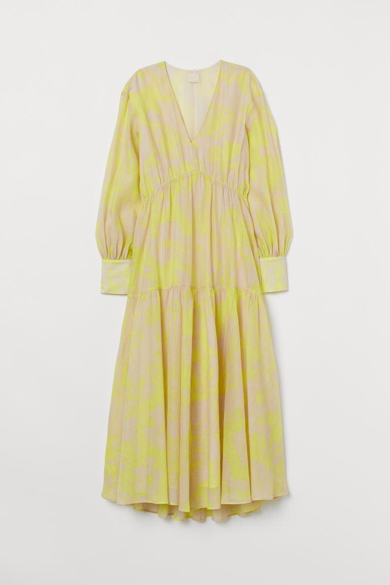 Robe Longue En Lyocell Mélangé Beige Clair Motif Jaune Femme H M Fr