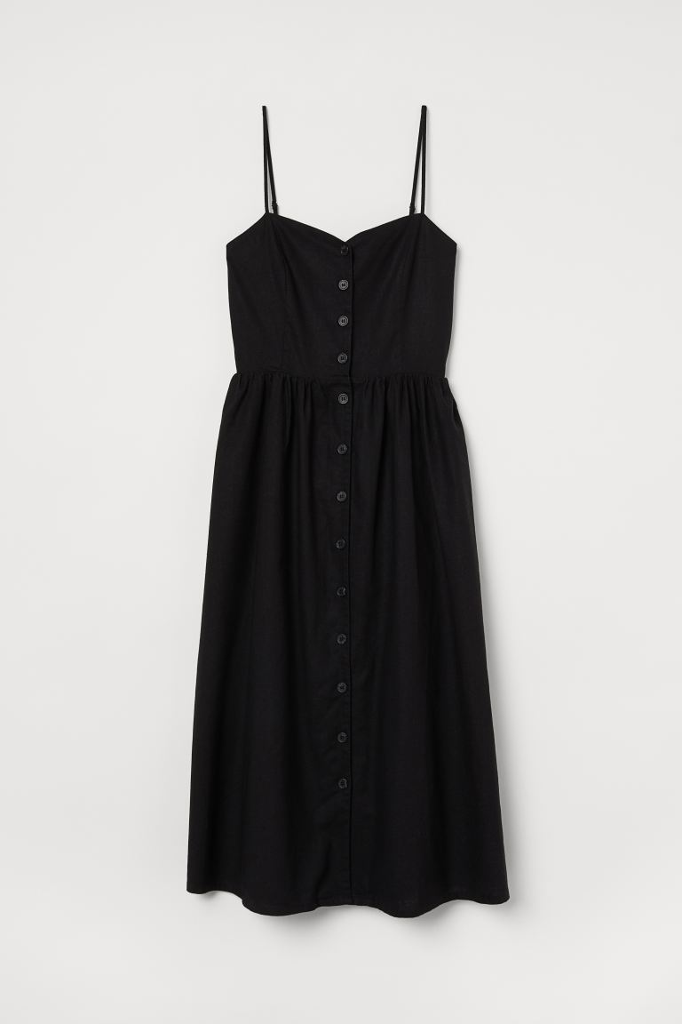 Linen-blend dress - Black - Ladies | H&M GB