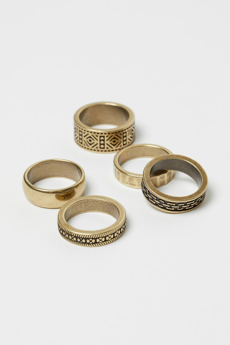 5-pack rings - Gold-coloured - Men | H&M IE