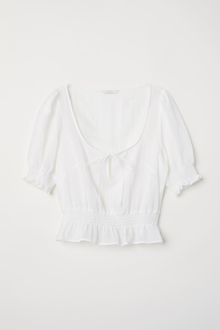 Airy Blouse with Smocking - White - Ladies | H&M US