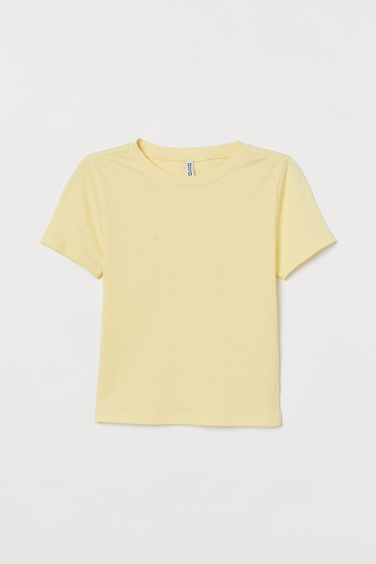Ribbed top - Light yellow - Ladies | H&M