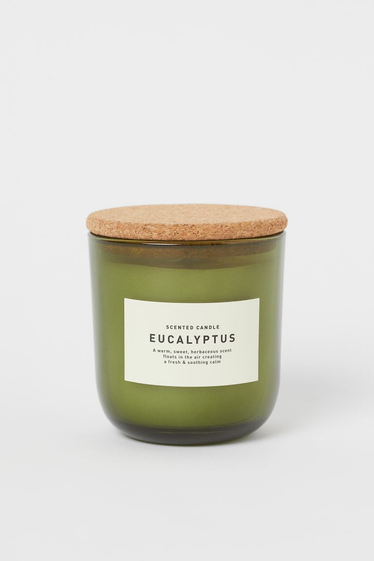 Scented Candle in Glass Holder - Green/Eucalyptus - Home All | H&M US