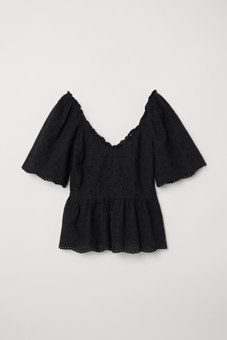 Embroidered cotton top - Black - Ladies | H&M GB