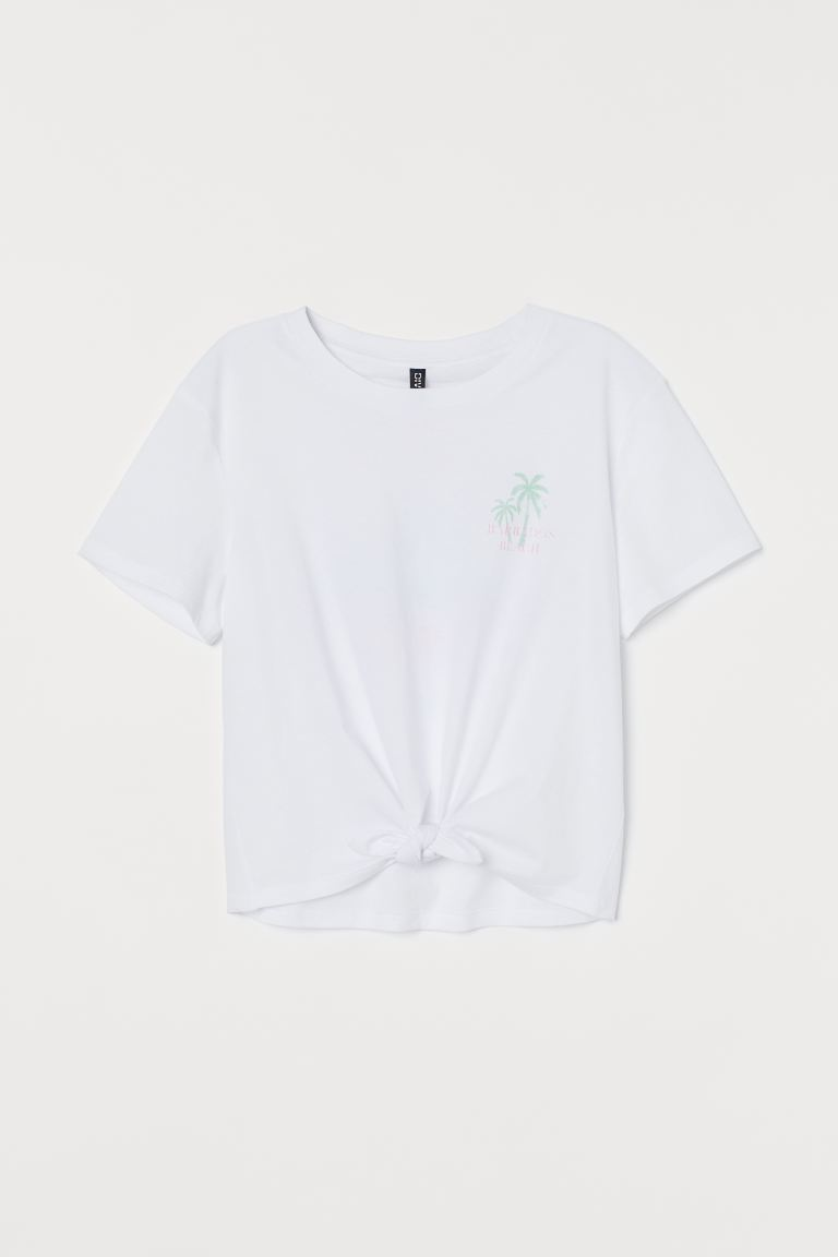 Tie-hem T-shirt - White/Barbados - Ladies | H&M IN