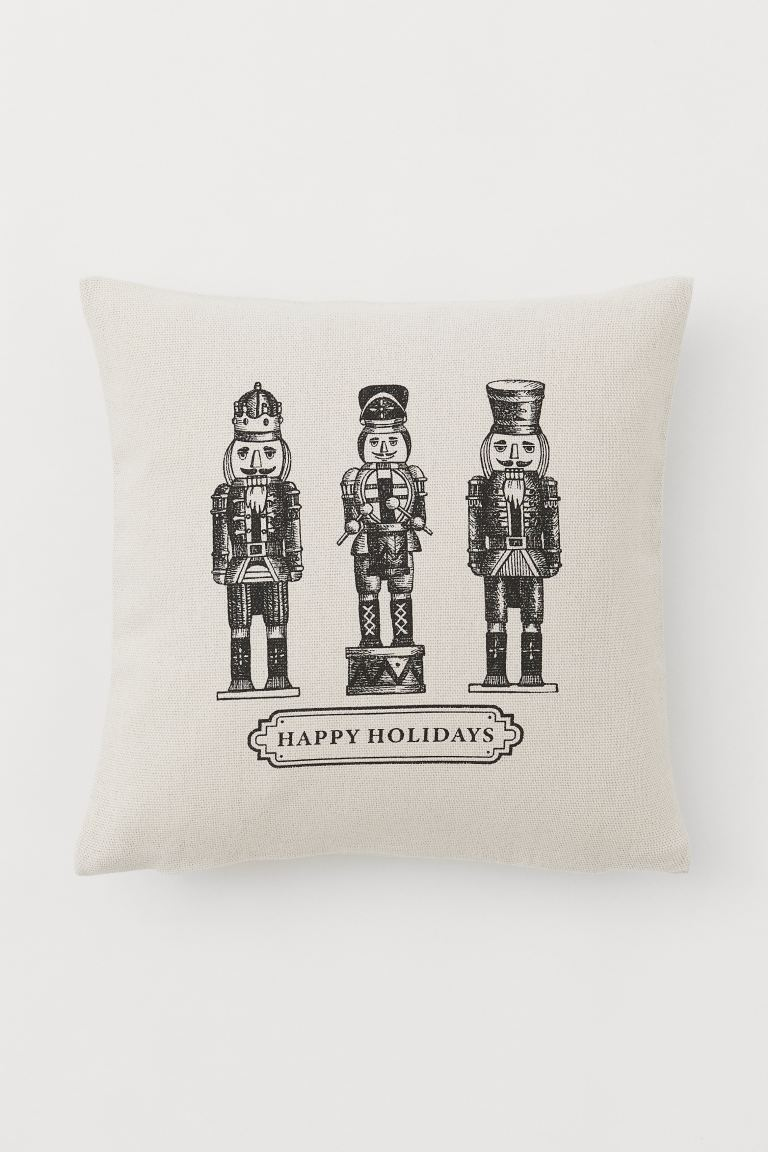 Printed Cushion Cover - Light beige/black - Home All | H&M US