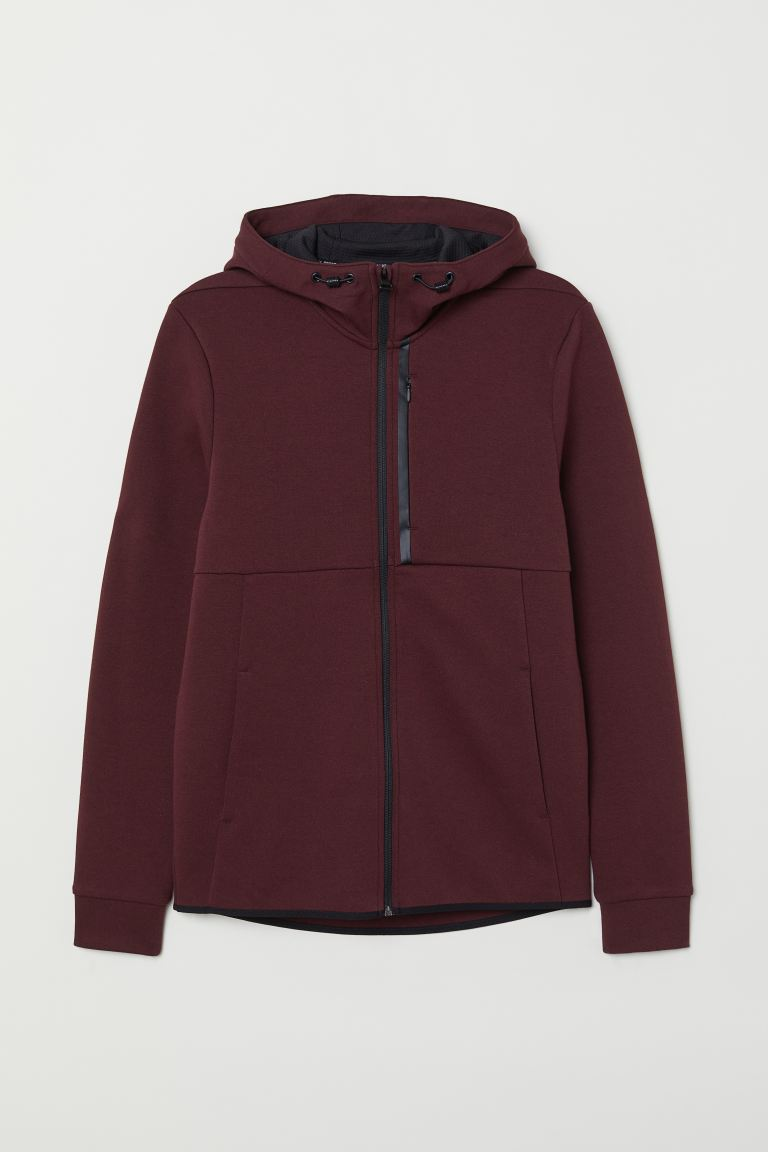 Sporty hooded jacket - Burgundy - Men | H&M IN