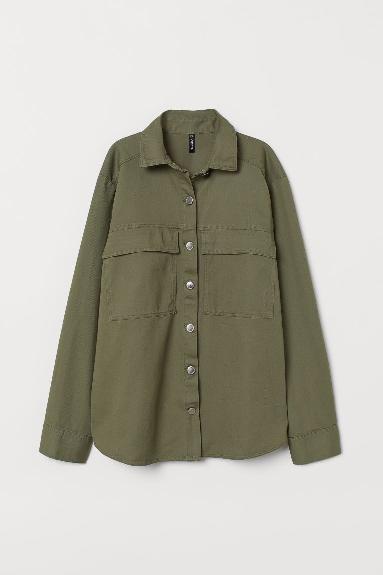Cotton twill shirt jacket - Khaki green - Ladies | H&M IE