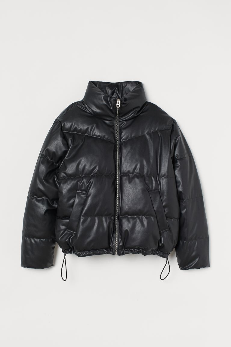 Boxy Puffer Jacket - Black/faux leather - Ladies | H&M US
