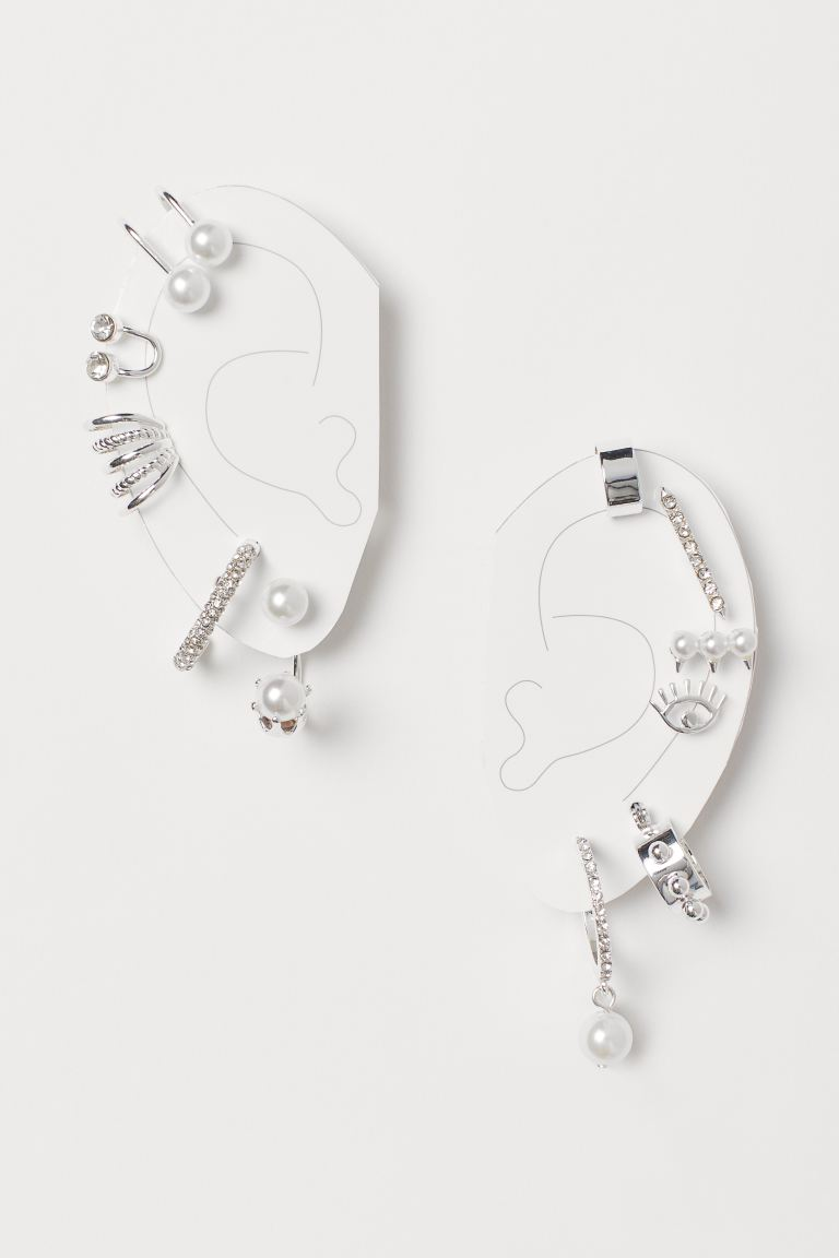 Earrings and ear cuffs - Silver-coloured/White - Ladies | H&M
