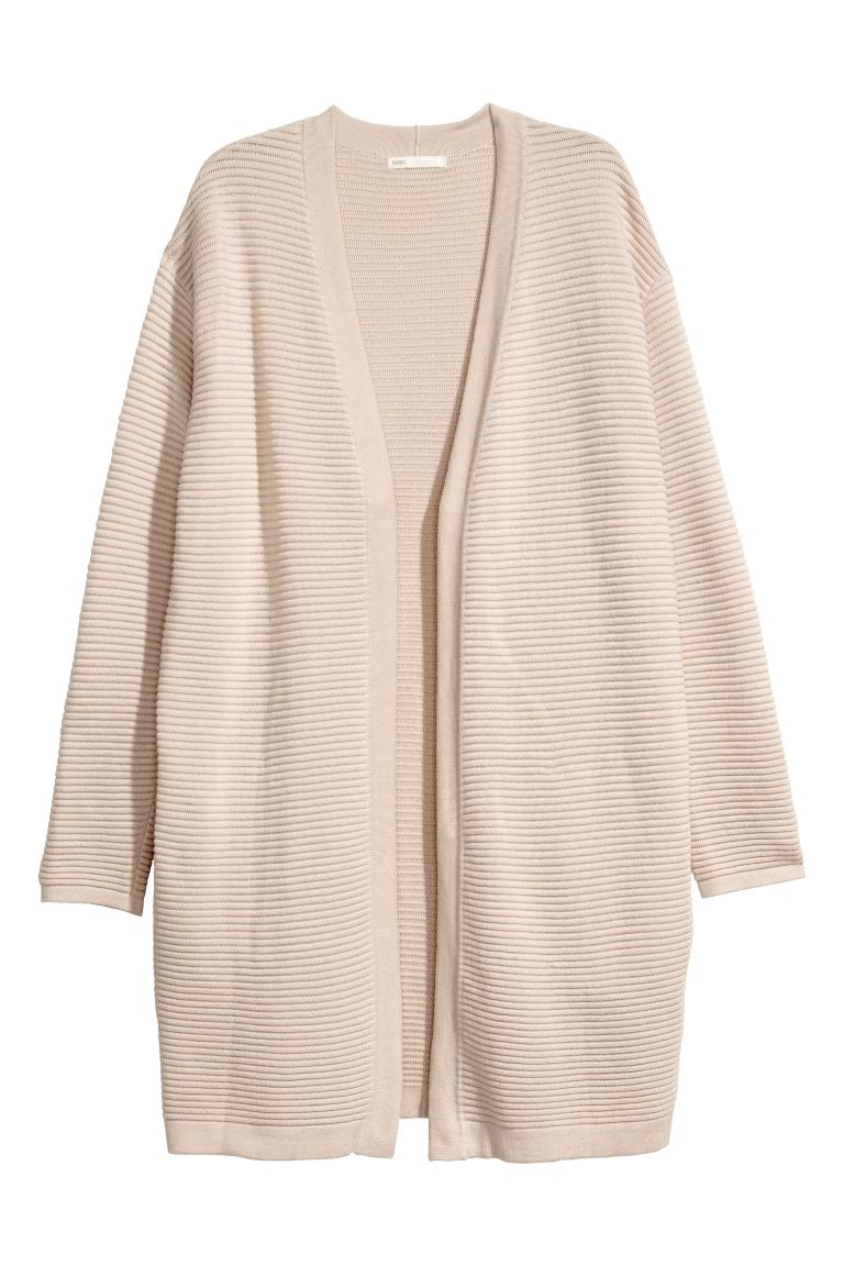 Textured-knit Cardigan - Light beige - Ladies | H&M CA