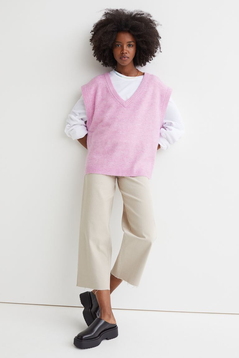 V-neck sweater vest - Pink marl - Ladies | H&M GB
