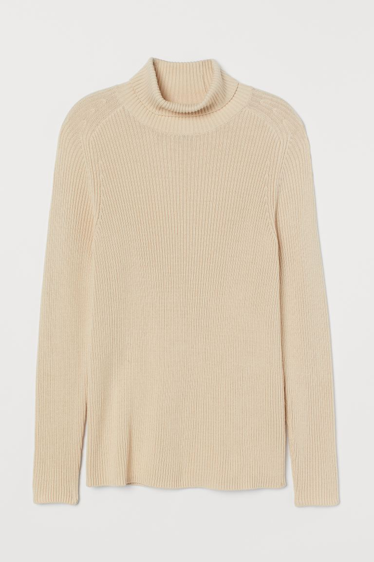 Polo-neck jumper Muscle Fit - Light beige - Men | H&M