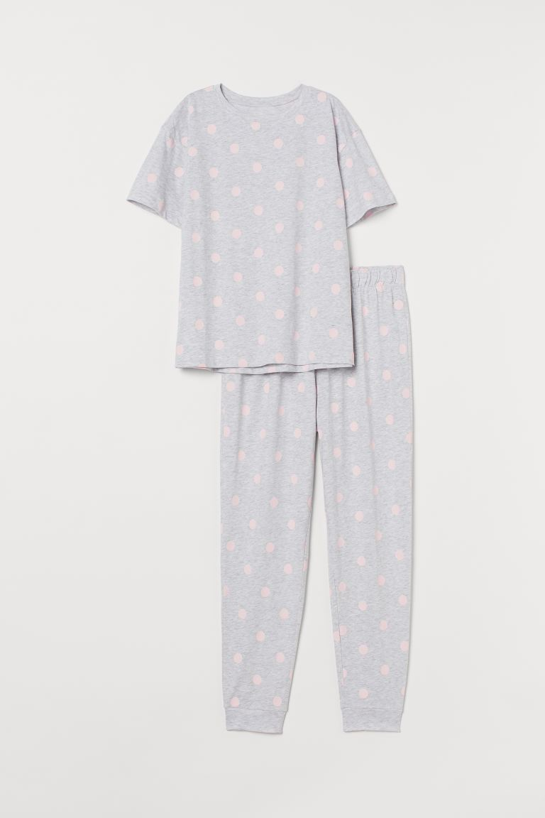 Pajamas - Light gray melange/dotted - Ladies | H&M US