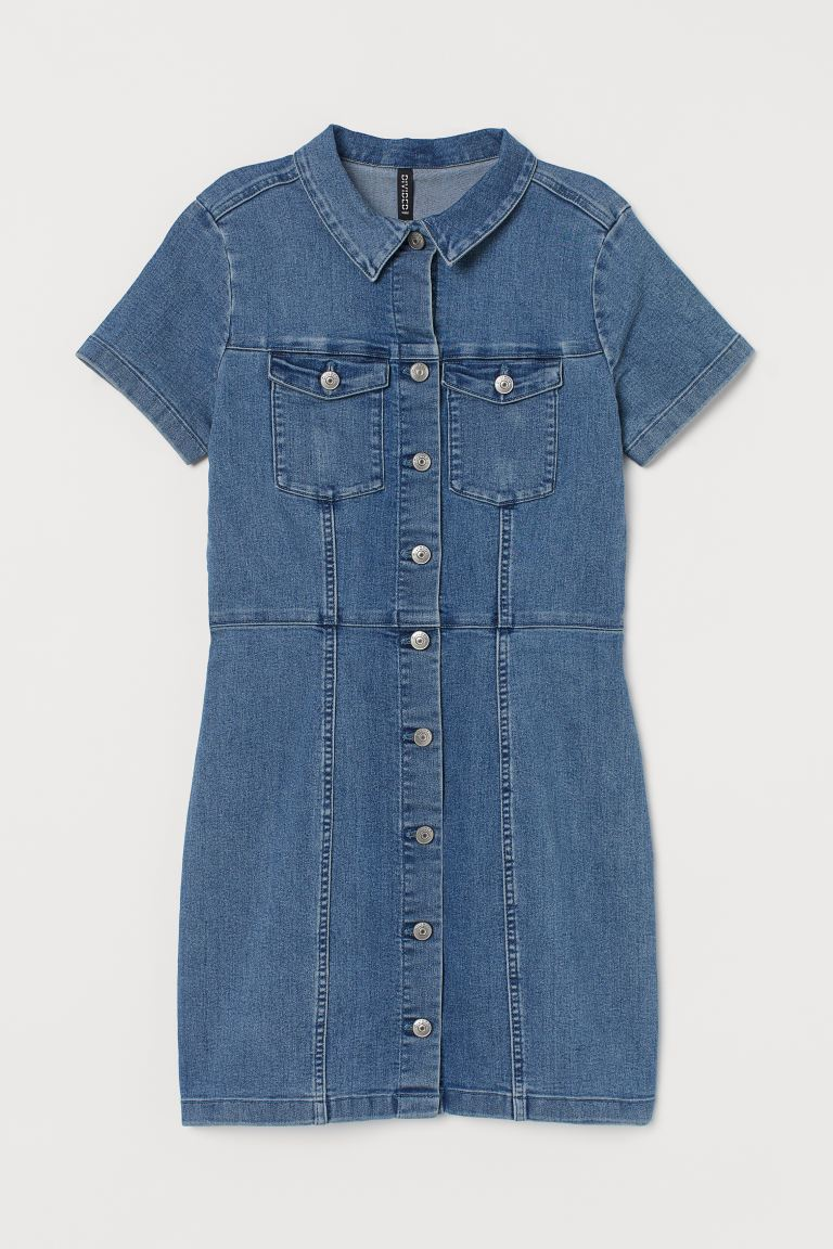 Fitted Twill Dress - Denim blue - Ladies | H&M US