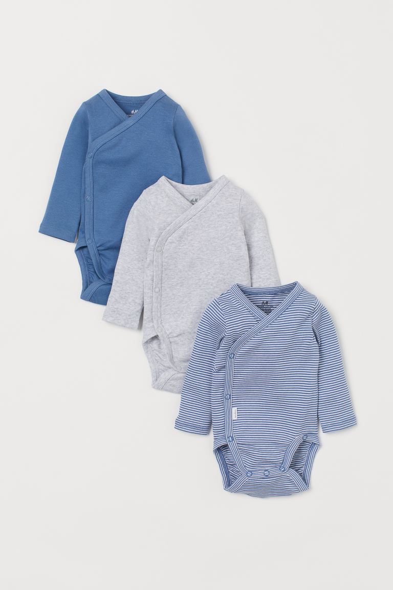 3-pack long-sleeved bodysuits - Blue/White striped - Kids | H&M GB