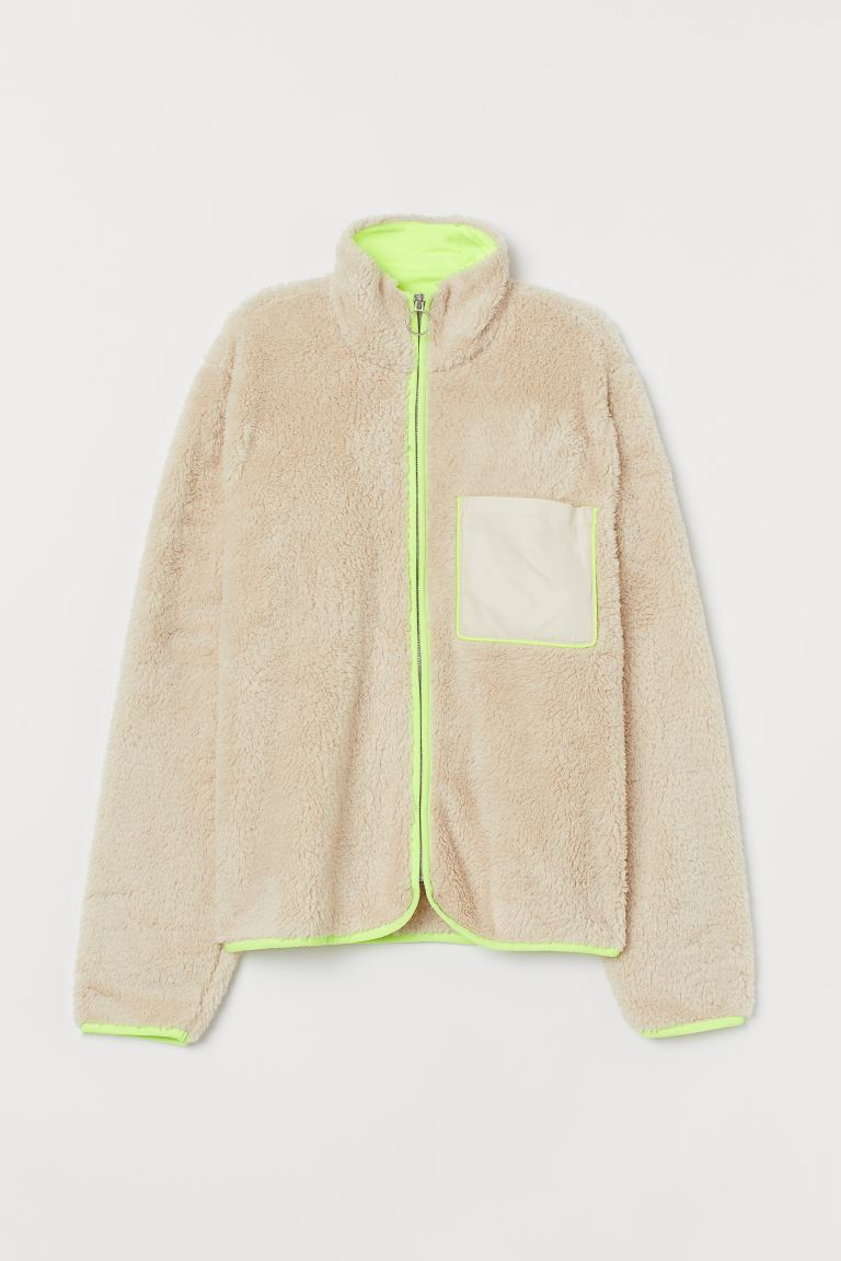 Faux Shearling Jacket - Light beige/neon yellow - Ladies | H&M US