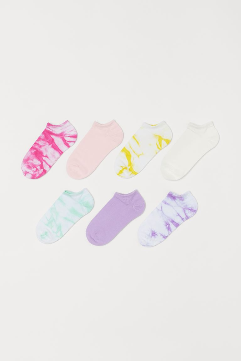 7-pack Ankle Socks - Purple/batik-patterned - Kids | H&M US