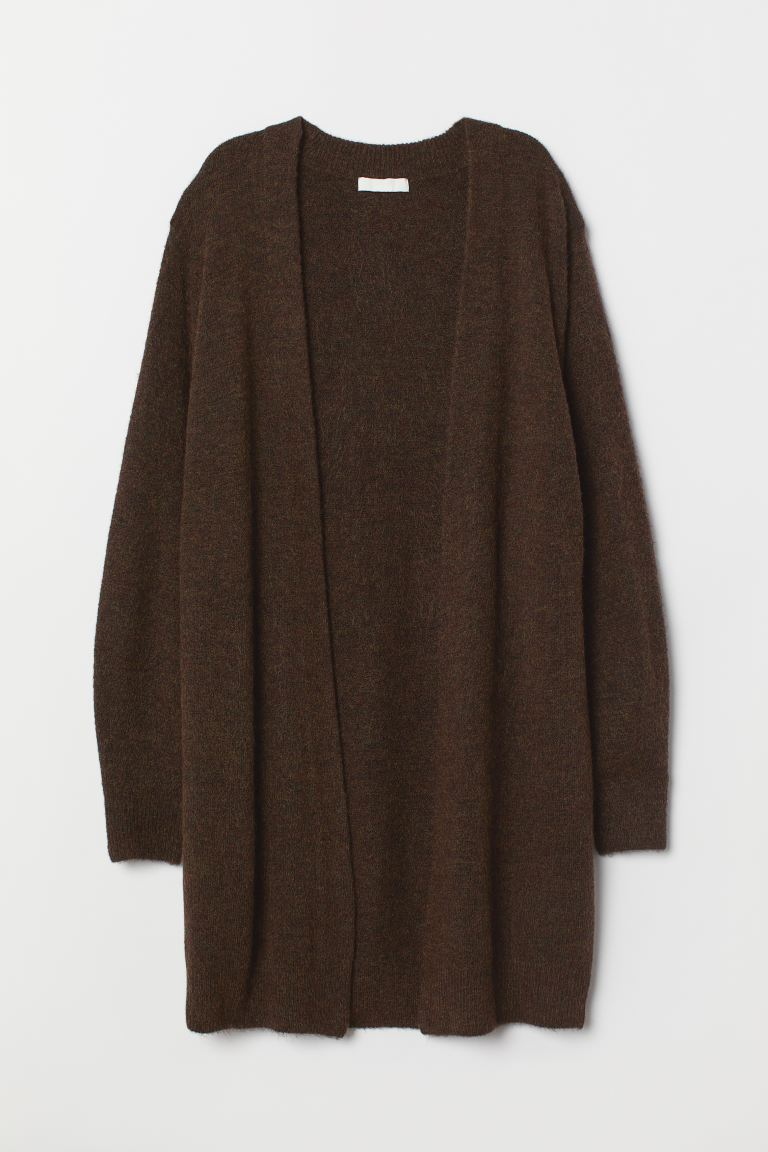 Long Cardigan - Dark brown melange - Ladies | H&M US