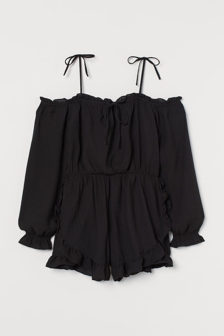 Flounce-trimmed playsuit - Black - Ladies | H&M