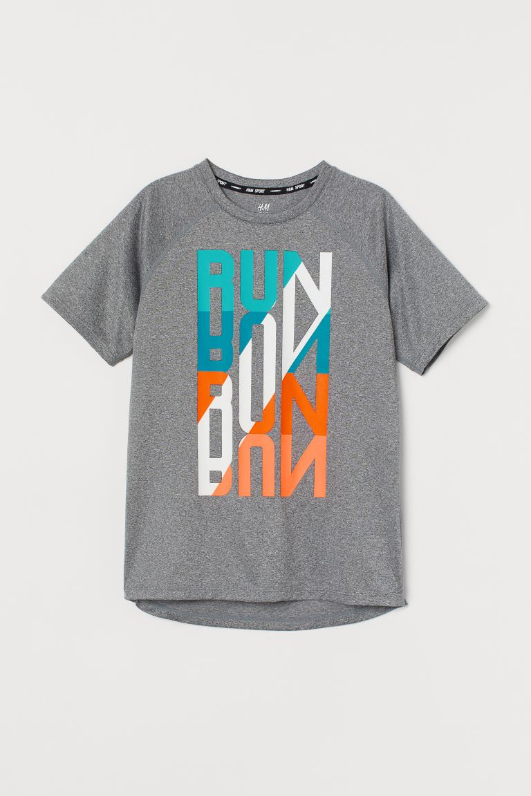 Sports top - Grey marl/Run - Kids | H&M