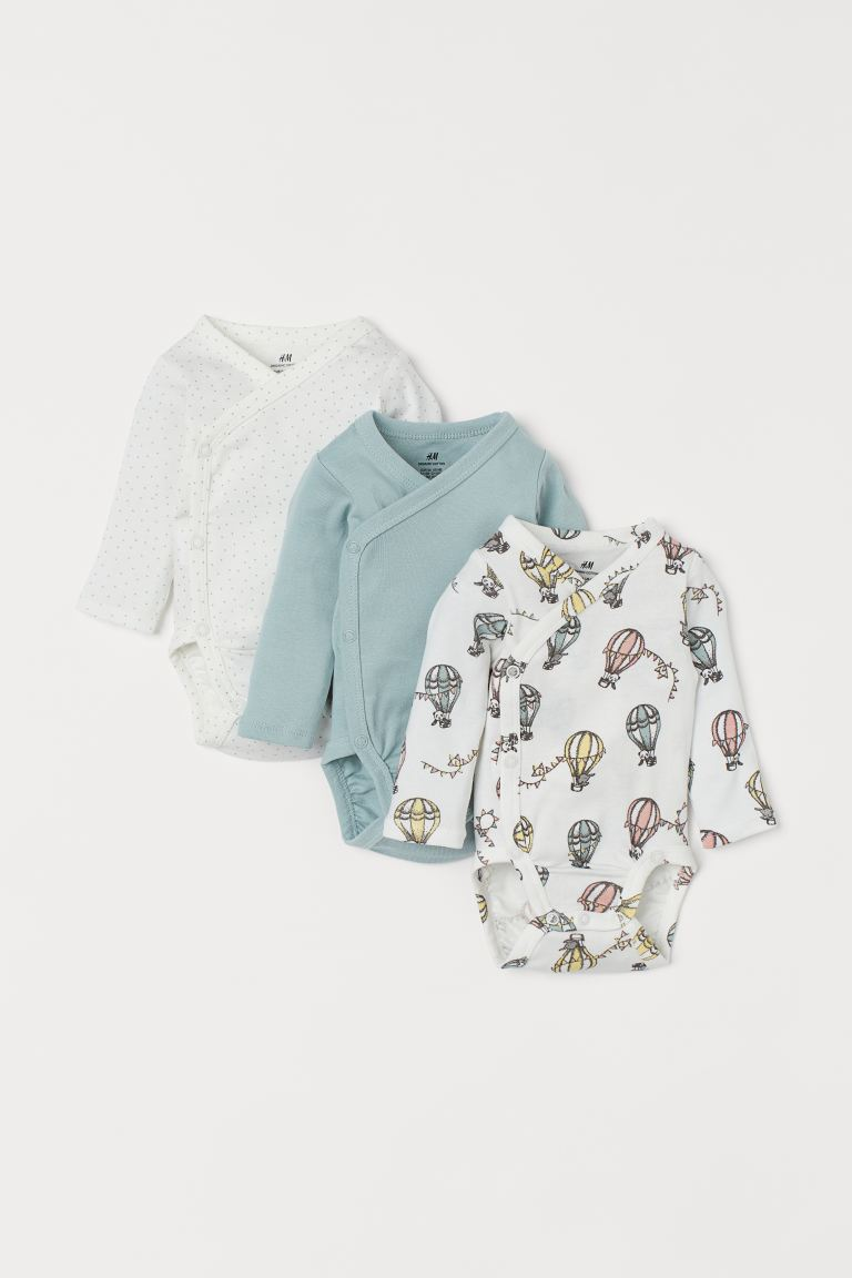 3-pack long-sleeved bodysuits - Mint green/Hot air balloons - Kids | H&M GB