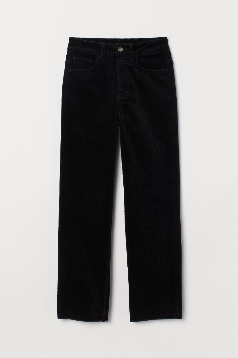 Ankle-length Corduroy Pants - Black - Ladies | H&M US