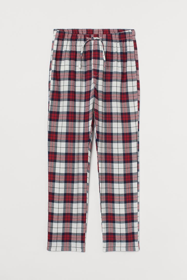Flannel pyjama bottoms - Red/White checked - Men | H&M GB