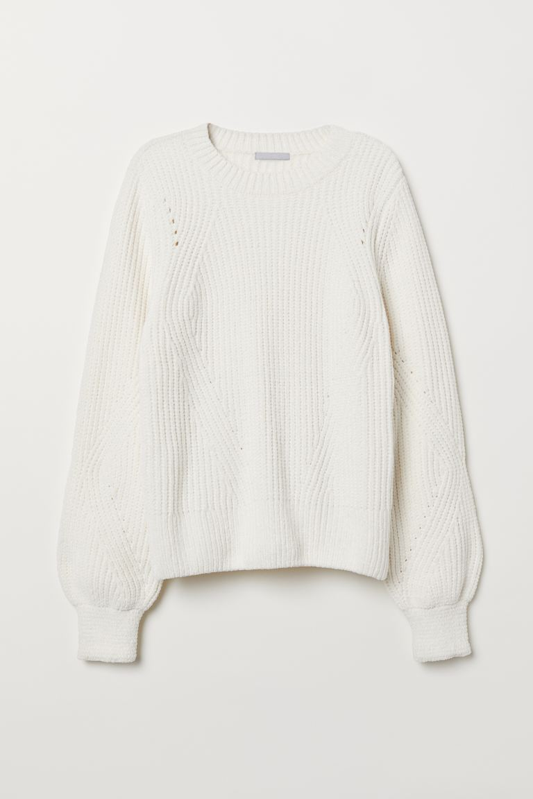 Chenille Sweater - Natural white - Ladies | H&M US