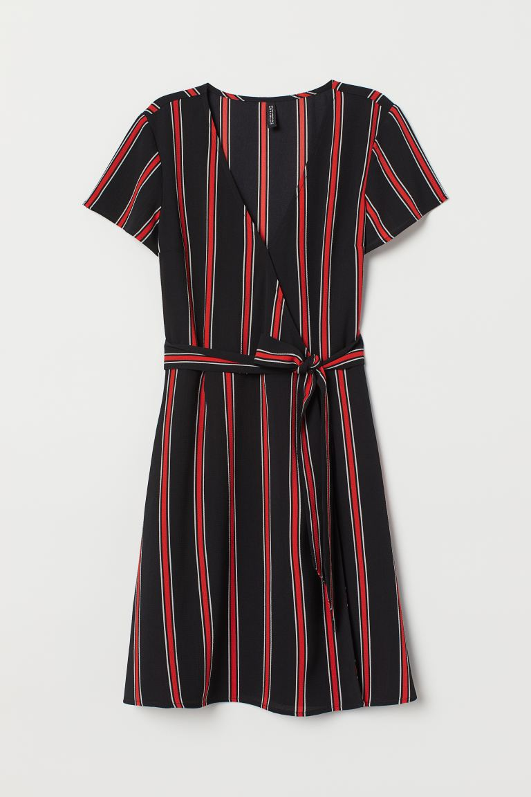 Crêped Wrap-front Dress - Black/red striped - Ladies | H&M US