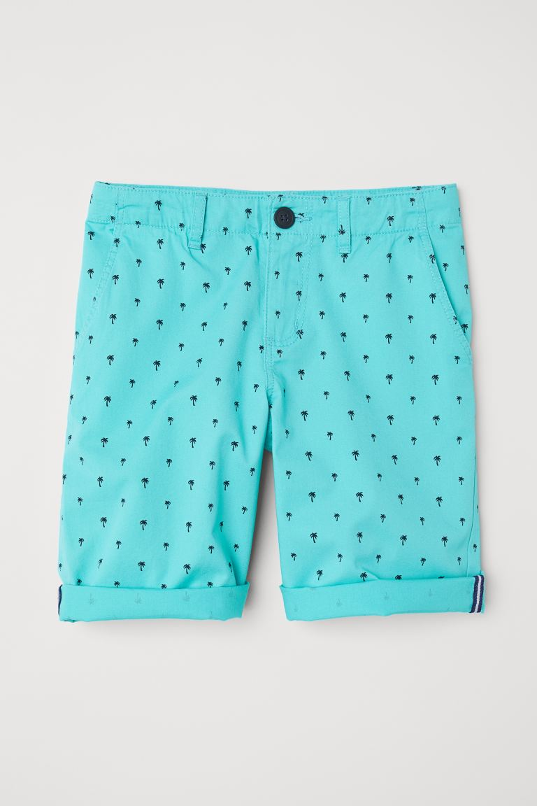 Chino shorts - Turquoise/Palm trees - Kids | H&M GB