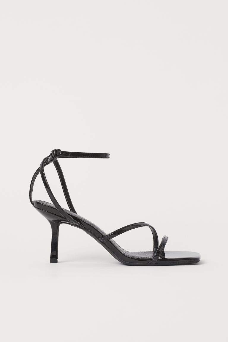 Patent strappy sandals - Black - Ladies | H&M IN