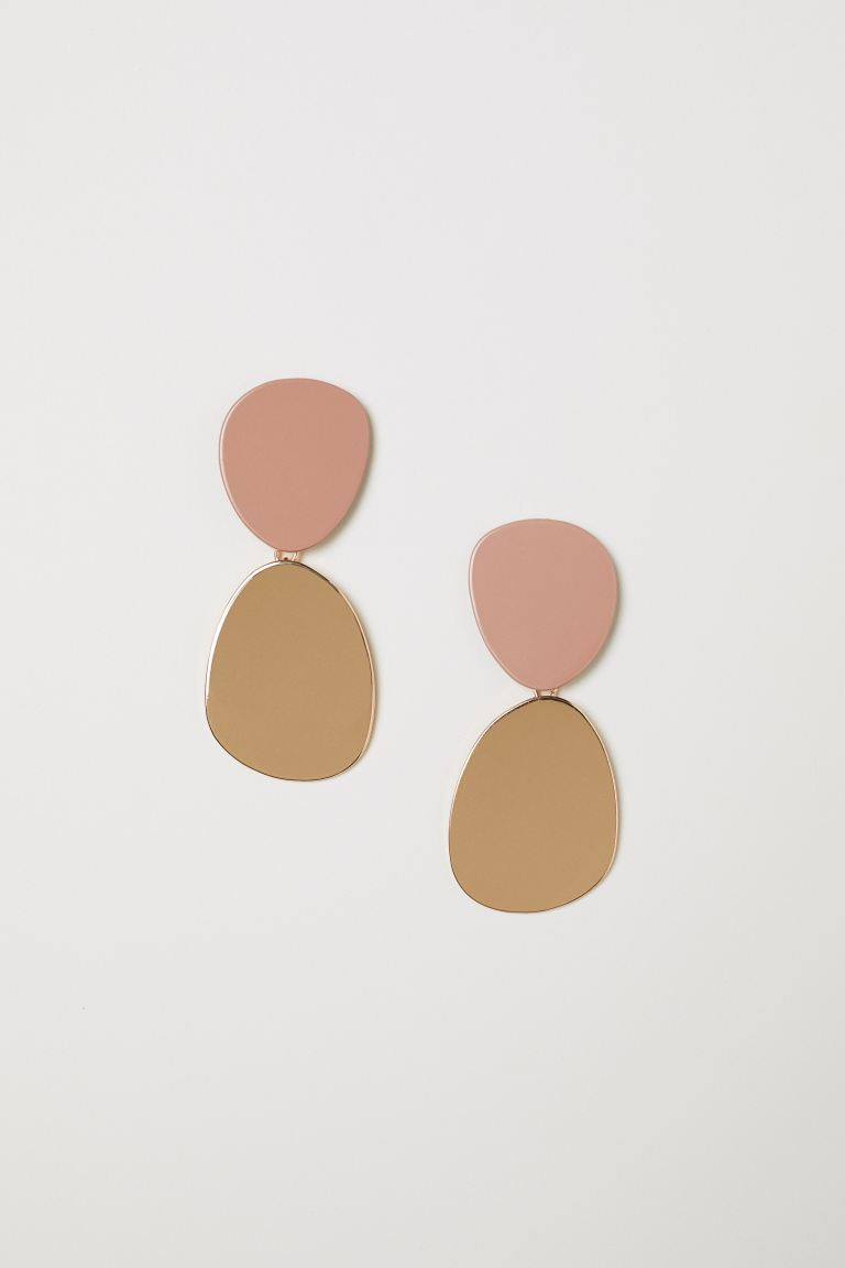 Large Earrings - Powder pink/gold-colored - Ladies | H&M CA