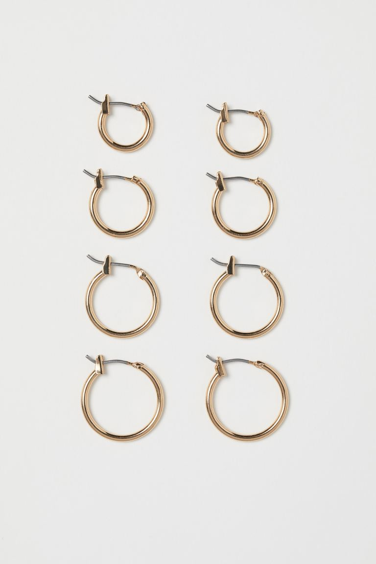 4 Pairs Earrings - Gold-colored - Ladies | H&M US
