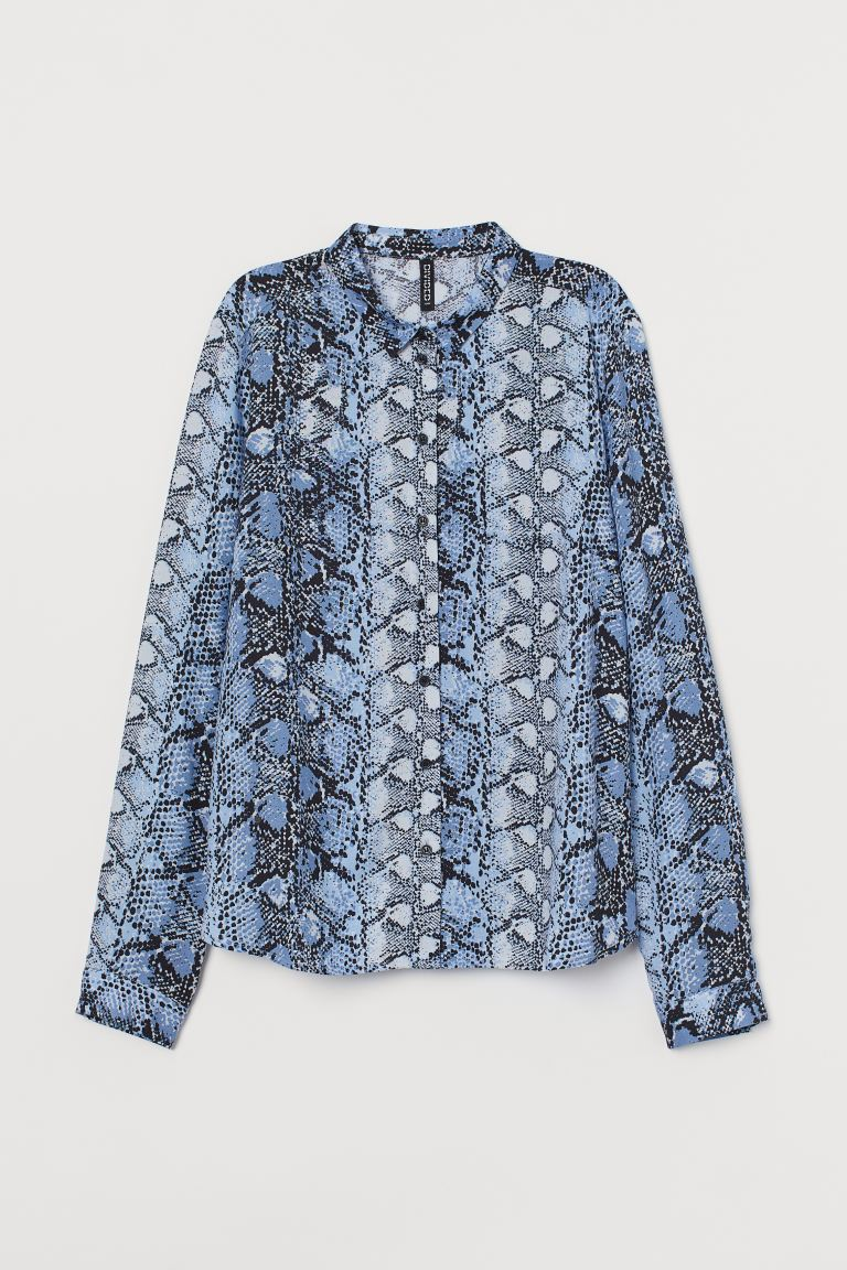 Viscose shirt - Blue/Snakeskin-patterned - Ladies | H&M GB