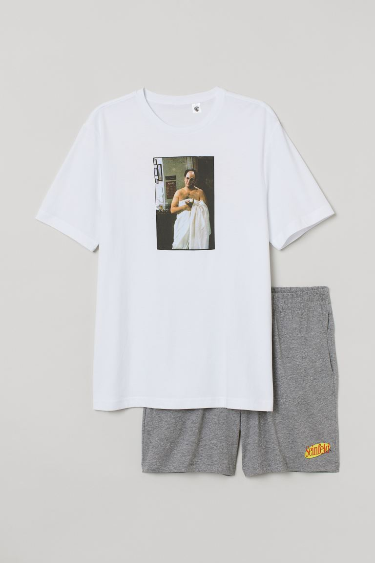 Pyjama T-shirt and shorts - White/Seinfeld - Men | H&M