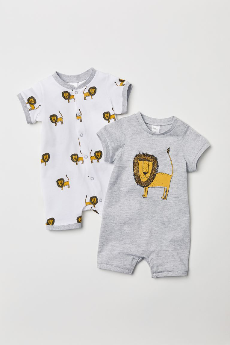 Lot de 2 pyjamas - Gris clair/lion - ENFANT | H&M FR
