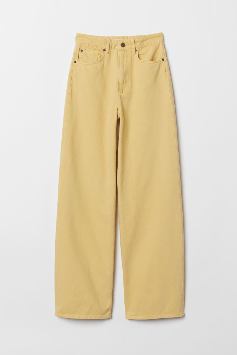 Wide High Jeans - Jaune clair - FEMME | H&M BE