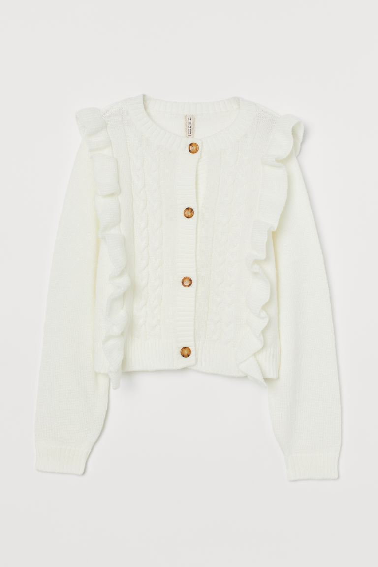 Flounce-trimmed Cardigan - Cream - Ladies | H&M US 4