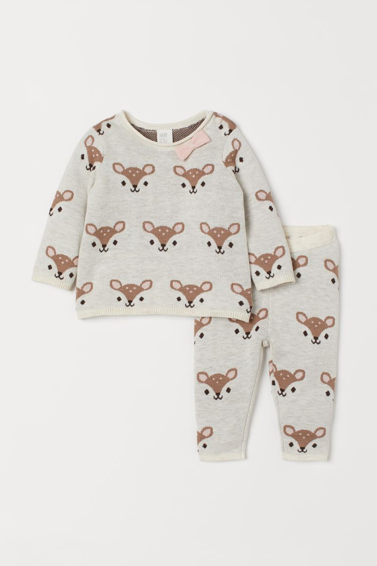 Sweater and Pants - Natural white/deer - Kids | H&M US