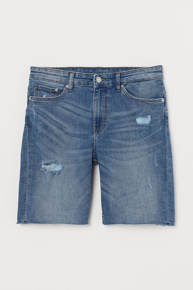 Shorts in denim - Blu denim/trashed - DONNA | H&M CH