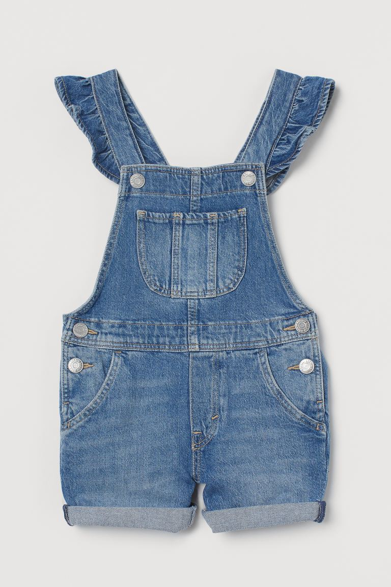 Comfort Stretch Overall Shorts - Denim blue - Kids | H&M US
