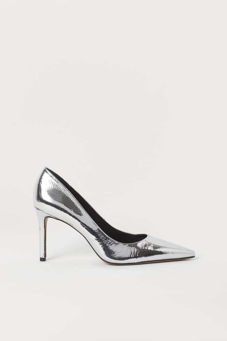 Metallic court shoes - Silver-coloured - Ladies | H&M IN