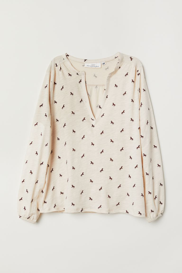 V-neck Jersey Blouse - Light beige/horses - Ladies | H&M CA