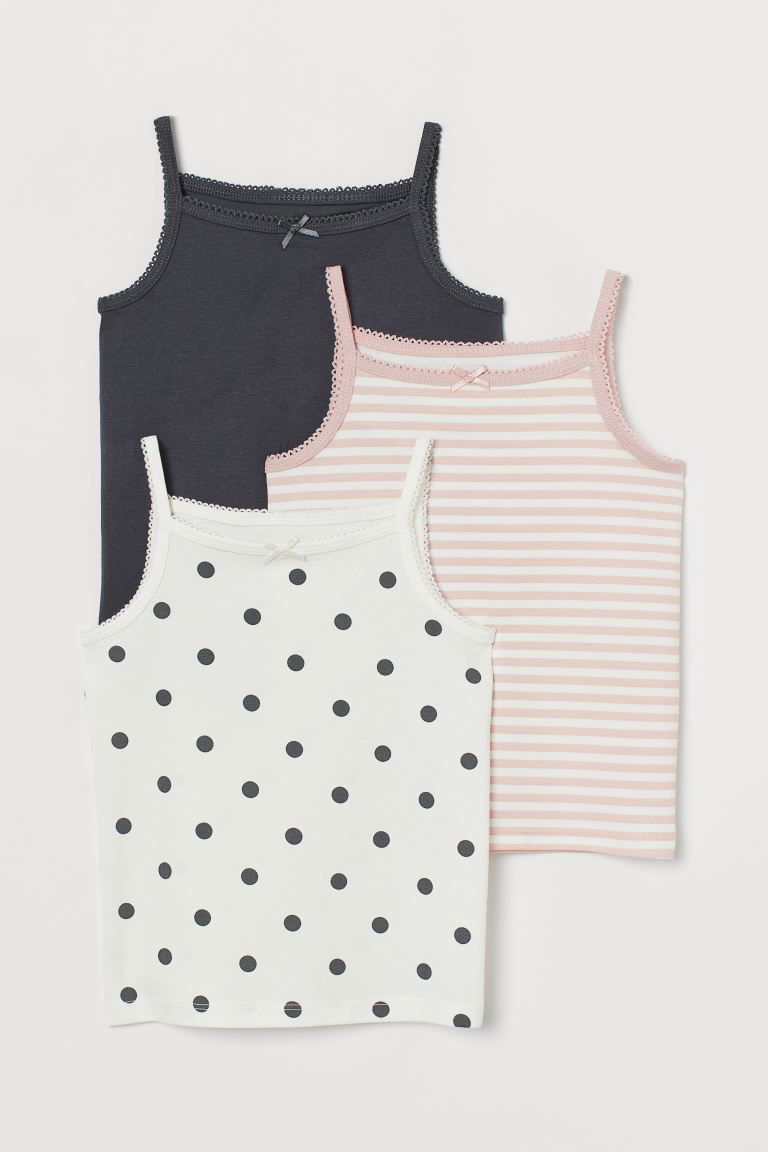 3-pack jersey strappy tops - White/Spotted - Kids | H&M