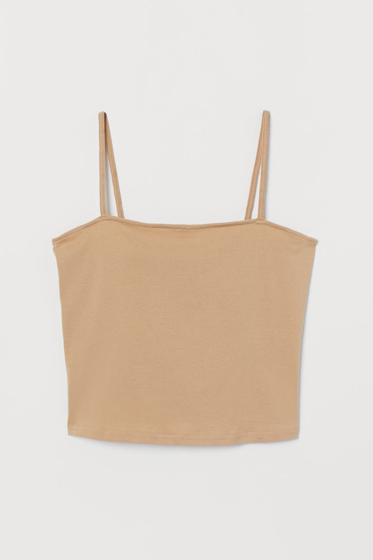 Cropped jersey strappy top - Beige - Ladies | H&M