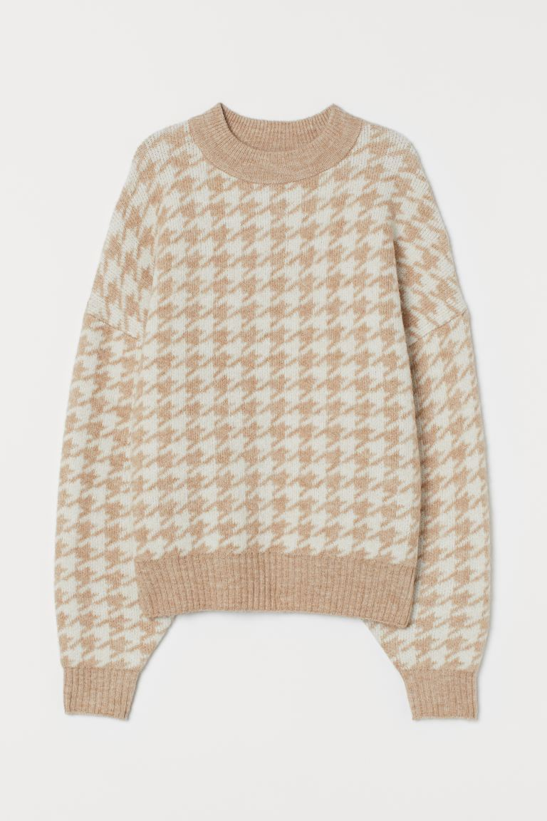 Fine Knit Sweater - Light beige/Dogtooth pattern - Ladies | H&M AU