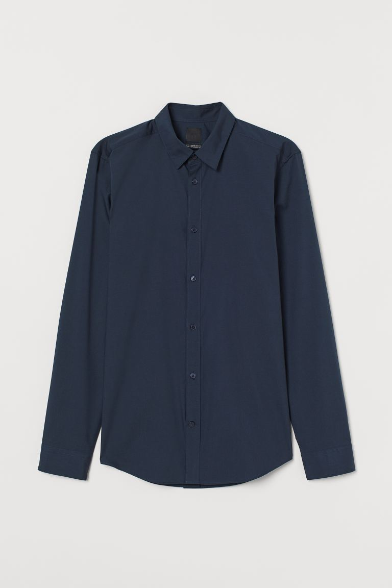Camicia easy-iron Slim fit - Blu navy - UOMO | H&M IT