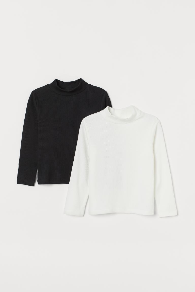 2-pack polo-neck tops - White/Black - Kids | H&M GB