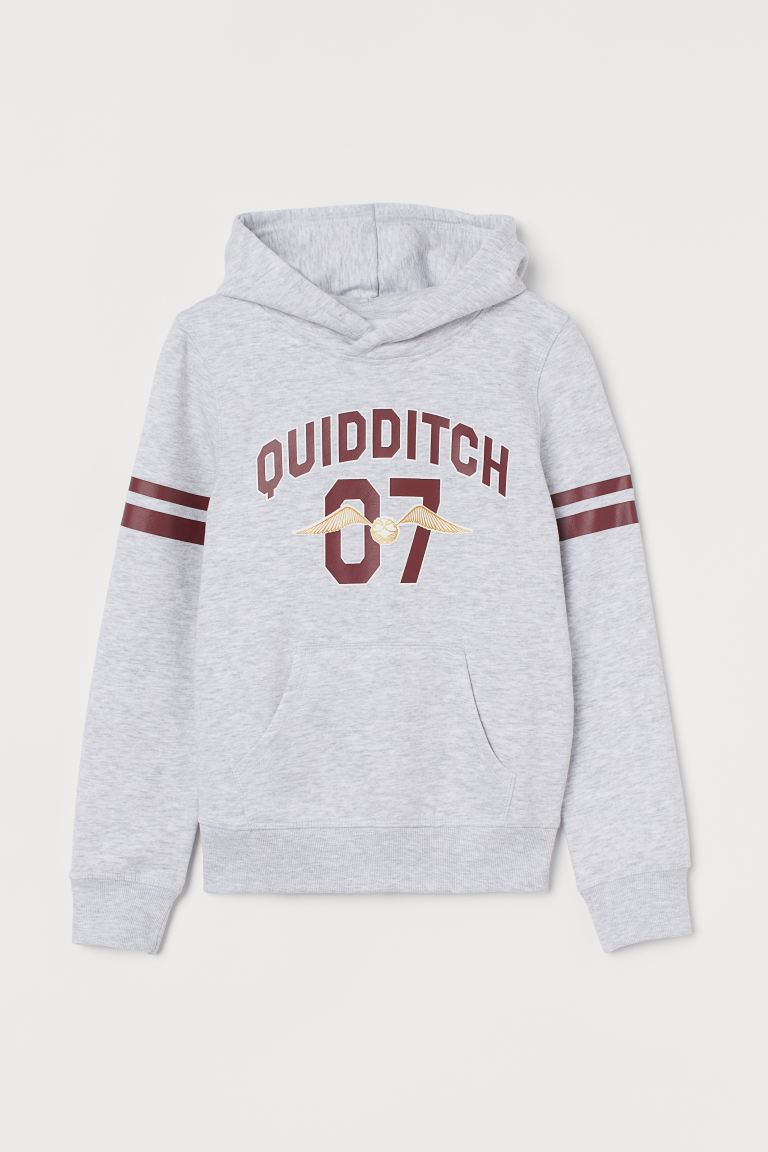 Hoodie imprimé - Gris clair chiné/Harry Potter - ENFANT | H&M FR